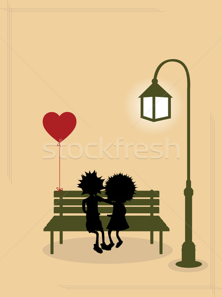 Casal amor amantes banco romântico luz Foto stock © lirch