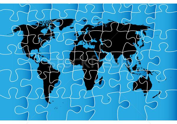 Stock foto: Weltkarte · Puzzle · isolierte · Objekte · weiß · abstrakten · Welt