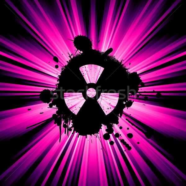 Stok fotoğraf: Nükleer · tehlike · arka · plan · rays · simge · soyut
