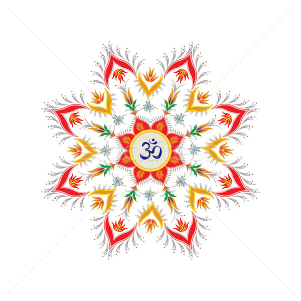 Ornamental round pattern hindu symbol om Stock photo © lirch