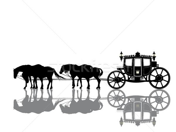 Antigo real treinador quatro cavalos projeto Foto stock © lirch