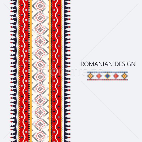 Rumuński pionowy granicy dekoracyjny ozdoba tradycyjny Zdjęcia stock © lirch