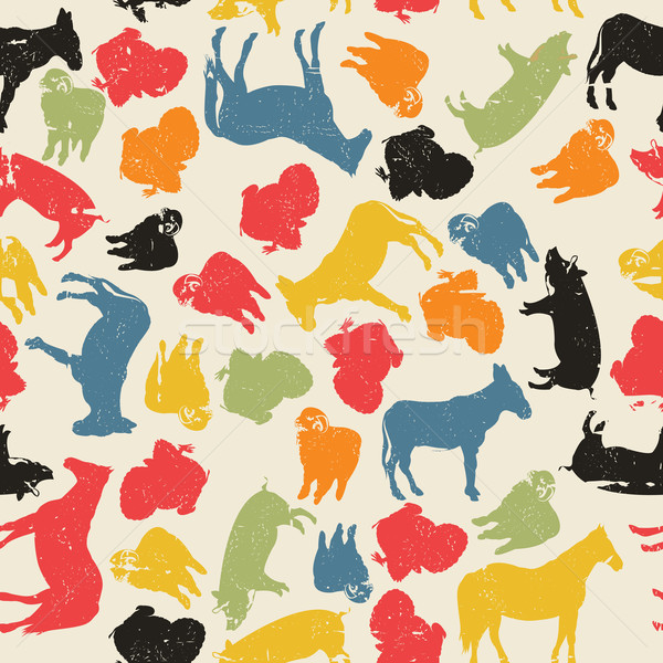 Farm animals seamless pattern Stock photo © lirch