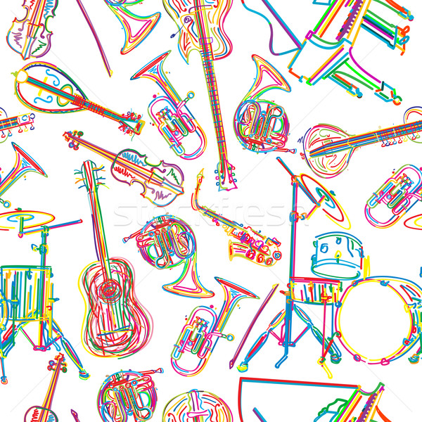 Musical instruments sketch Stock photo © lirch