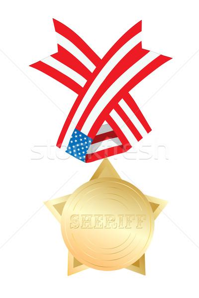 Sheriff csillag arany érem USA szalag Stock fotó © lirch