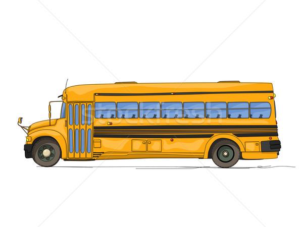 Bus scolaire cartoon blanche voiture école design Photo stock © lirch