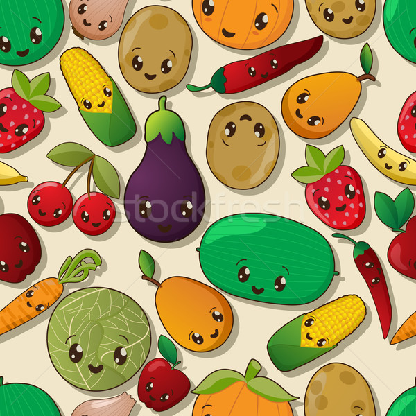 Kawaii modèle fruits légumes sourire Photo stock © lirch