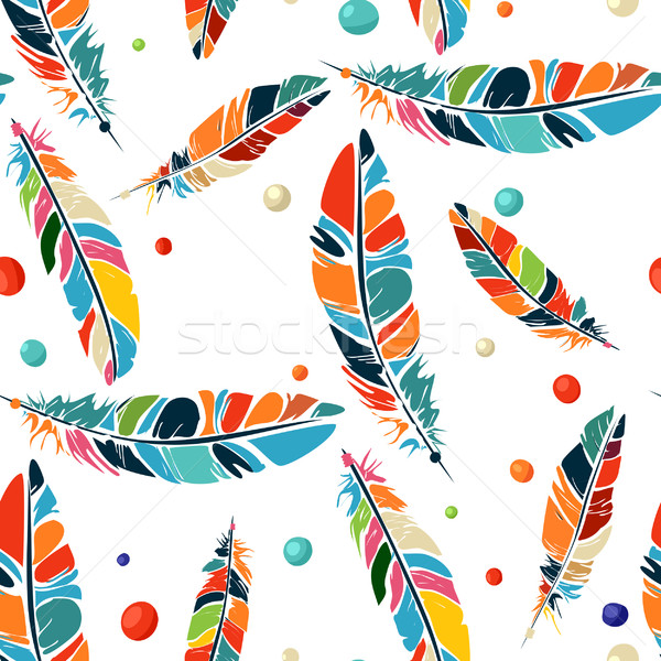 Watercolor beads and feathers pattern Stock photo © lirch