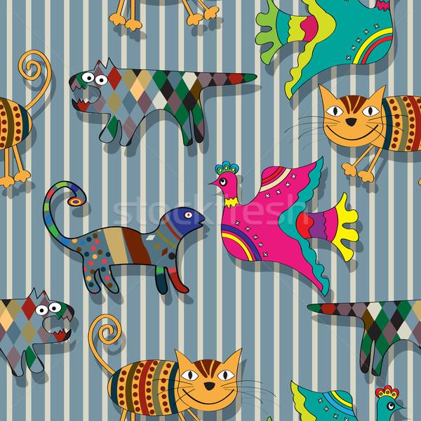 Seamless childlike drawing pattern Stock photo © lirch