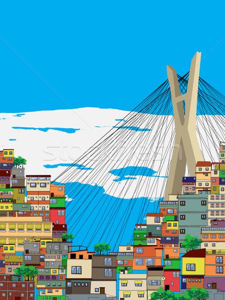 Sao Paulo város tájkép rajz illusztráció ház Stock fotó © lirch