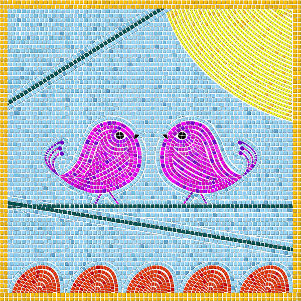 Tweet oiseaux mosaïque résumé art illustration Photo stock © lirch
