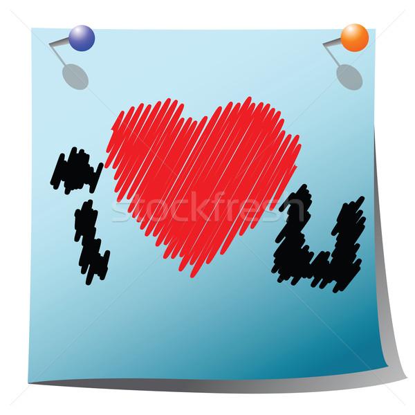 Szeretet nyilatkozat jegyzet fehér papír ír Stock fotó © lirch