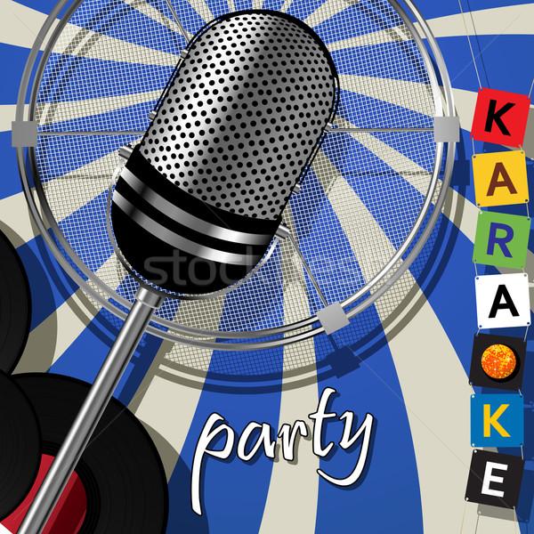 Festa cartão karaoke dançar fundo microfone Foto stock © lirch