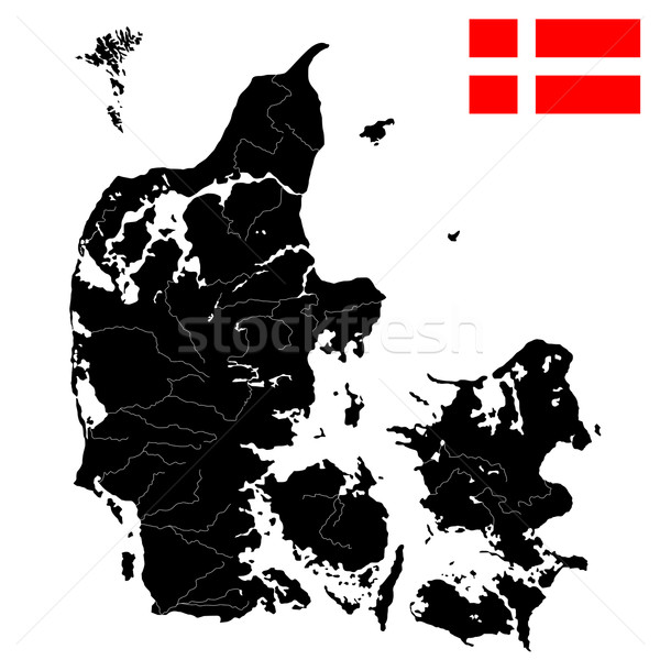 Flag and map of Denmark Stock photo © lirch