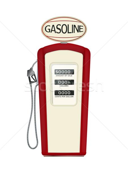 Klasszikus benzinpumpa illusztráció fehér olaj energia Stock fotó © lirch