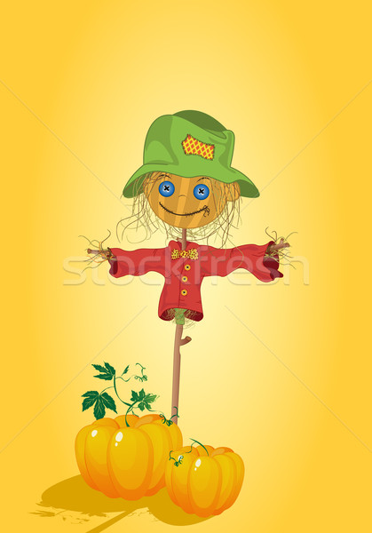 Scarecrow with pumpkins Stock photo © lirch