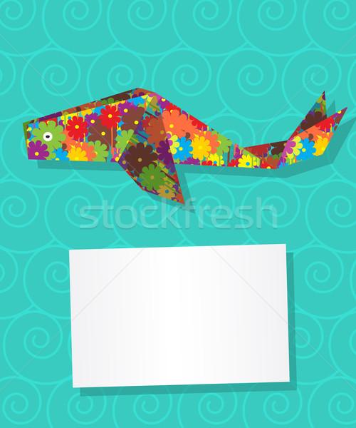 Bálna kártya dekoratív szöveg virágmintás téma Stock fotó © lirch