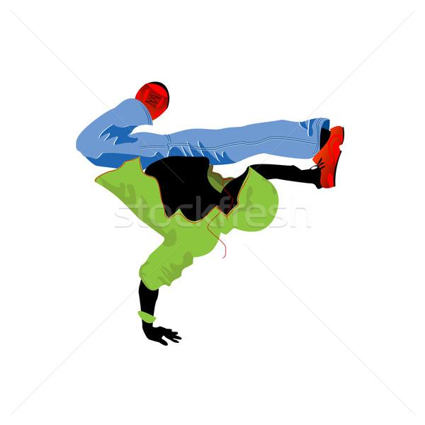 Dansçı müzik adam dans disko yeşil Stok fotoğraf © lirch