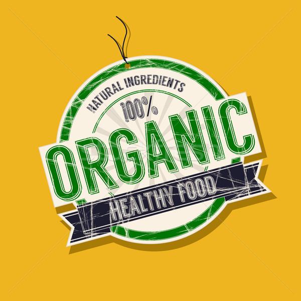 Bioélelmiszer címke termék vektor terv retro Stock fotó © lirch