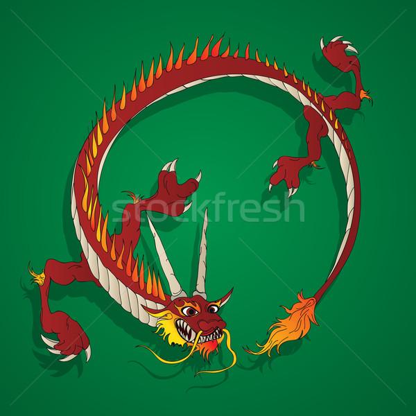 Китайский дракон Cartoon рисунок дизайна фон красный Сток-фото © lirch