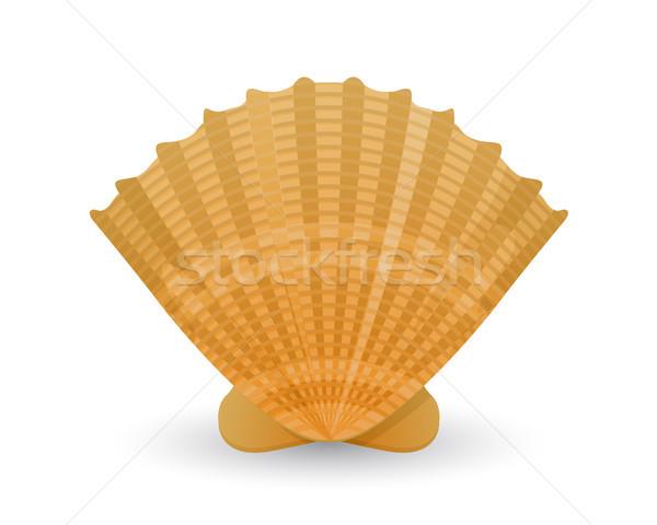 Shell icône blanche mer art marines Photo stock © lirch