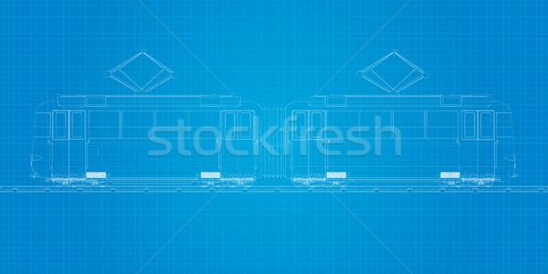 Blueprint tramcar Stock photo © lirch