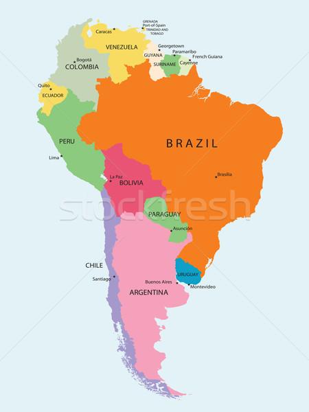Amérique du sud détaillée carte nature fond Voyage Photo stock © lirch