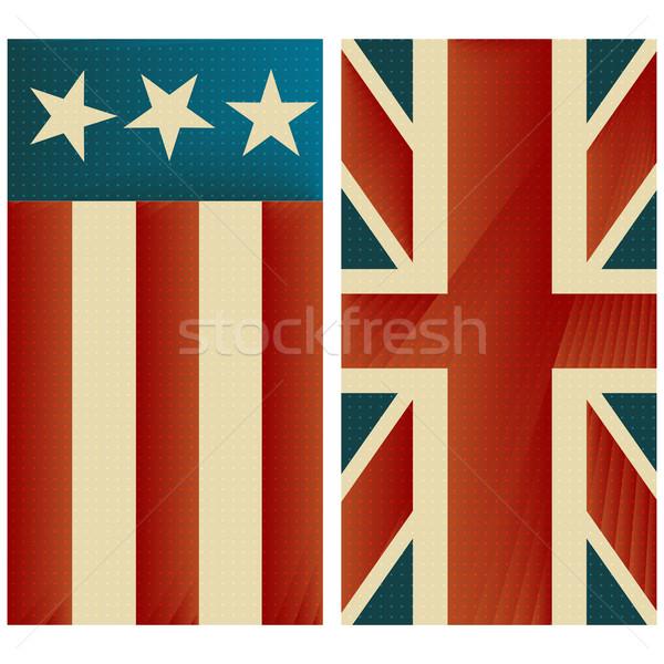 Zdjęcia stock: Gwiazdki · stylizowany · retro · tle · banderą