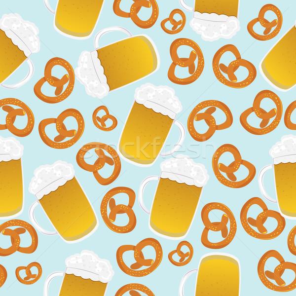 Bira tuzlu kraker dizayn oktoberfest kutlama Stok fotoğraf © lirch