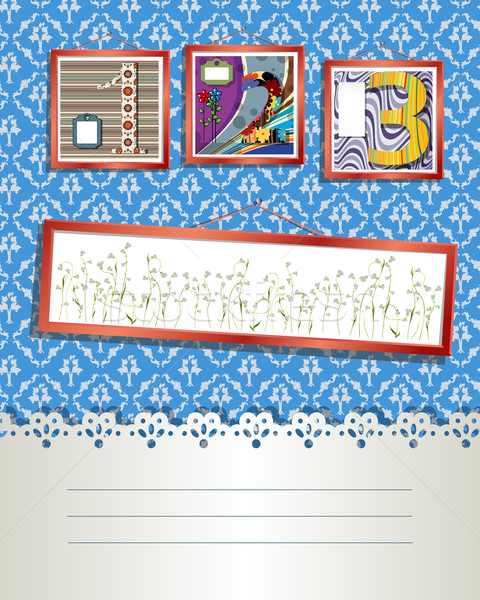 Art deco kártya dekoratív stílus képek szöveg Stock fotó © lirch