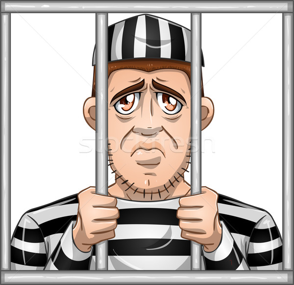 Sad Prisoner Behind Bars Stock photo © LironPeer