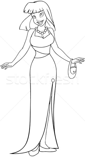 Asian Woman In Evening Dress Coloring Page Stock photo © LironPeer