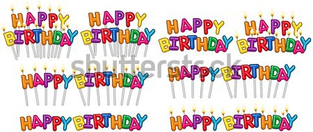 Colorful Happy Birthday Text Candles On Sticks Set 2 Stock photo © LironPeer