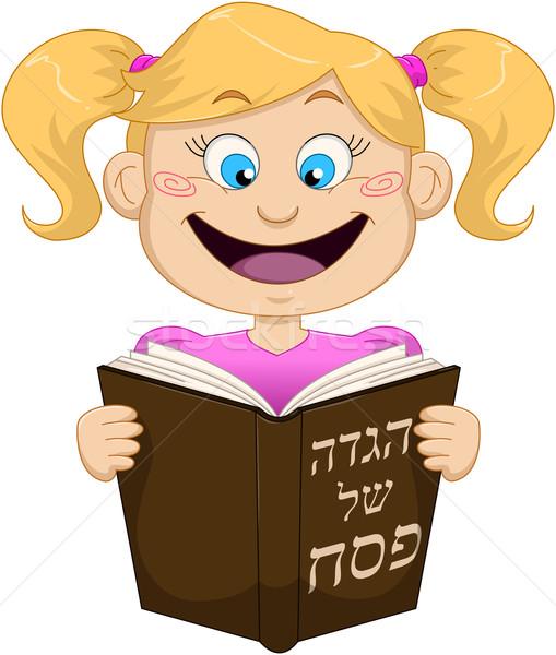 Fille lecture Pâque sourire enfant bleu Photo stock © LironPeer
