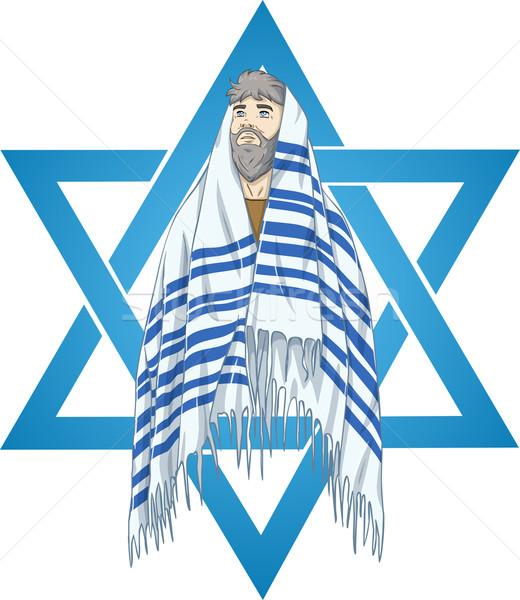 Star Of David Rabbi With Talit Stock photo © LironPeer