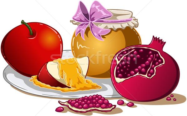 Сток-фото: меда · яблоко · гранат · пластина · Новый · год · продовольствие