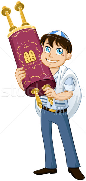 Jewish Boy With Talit Holds Torah For Bat Mitzvah Stock photo © LironPeer