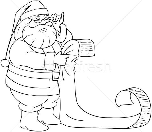 Santa Claus Reads From Christmas List Coloring Page vector ...