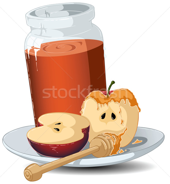 Rosh Hashanah Honey Jar and Apples Stock photo © LironPeer