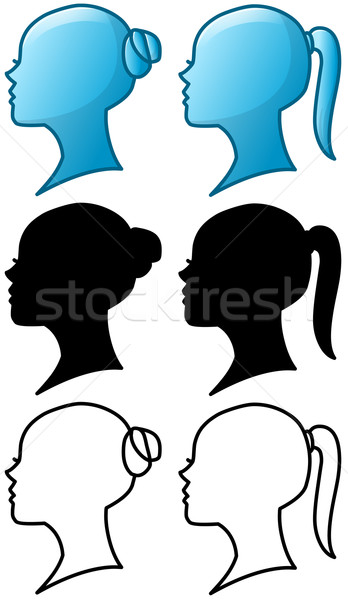 Woman Head Icon and Silhouette Pack Stock photo © LironPeer
