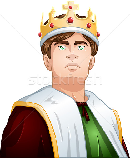 Young King With Crown Shoulders Up Stock photo © LironPeer