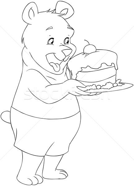 молодые несут торт страница Cute Сток-фото © LironPeer