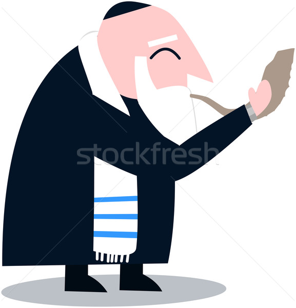 Rabbi With Talit Blows The Shofar Stock photo © LironPeer