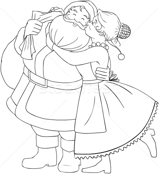 Mrs Claus Kisses Santa On Cheek And Hugs Coloring Page Stock photo © LironPeer