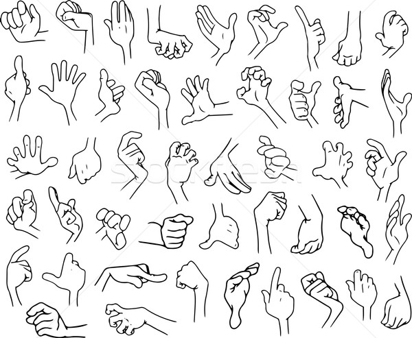 Cartoon Hands Pack Lineart 3 Stock photo © LironPeer