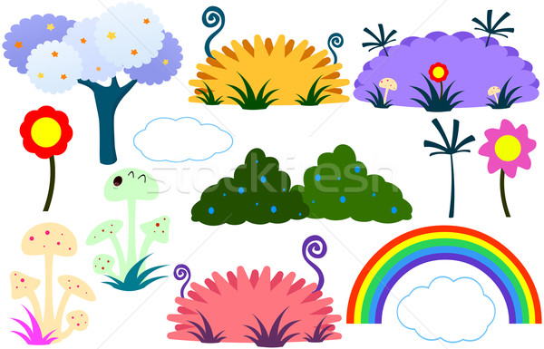 Flat Tree Flower Plants Rainbow Cloud Stock photo © LironPeer