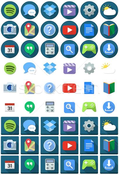 Flat Circle Square Android Icons Stock photo © LironPeer