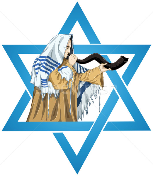 Star Of David Rabbi With Talit Blows The Shofar Stock photo © LironPeer