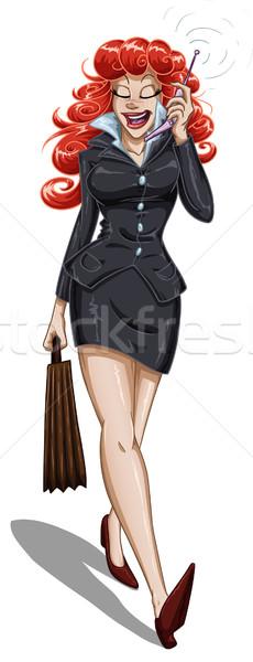 Mulher de negócios celular caminhada pasta falante Foto stock © LironPeer