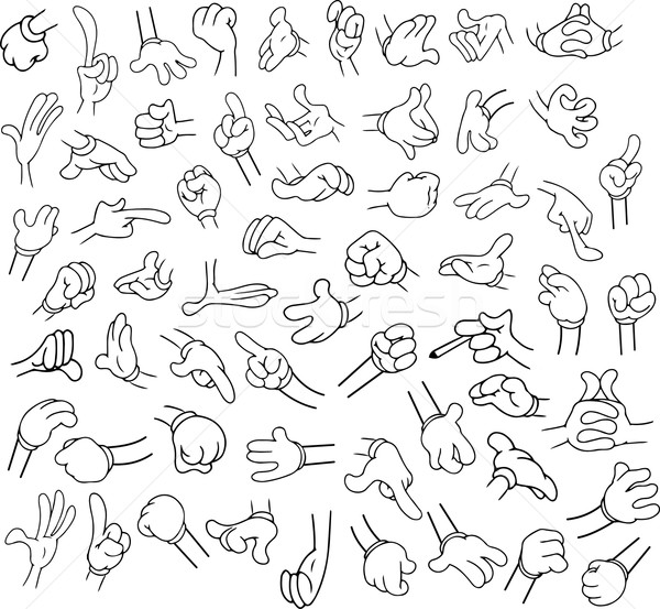 Cartoon Hands Pack Lineart 1 Stock photo © LironPeer